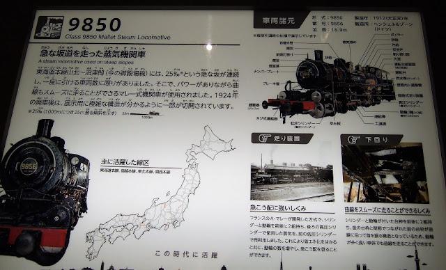 フランスから輸入した蒸気機関車の説明板