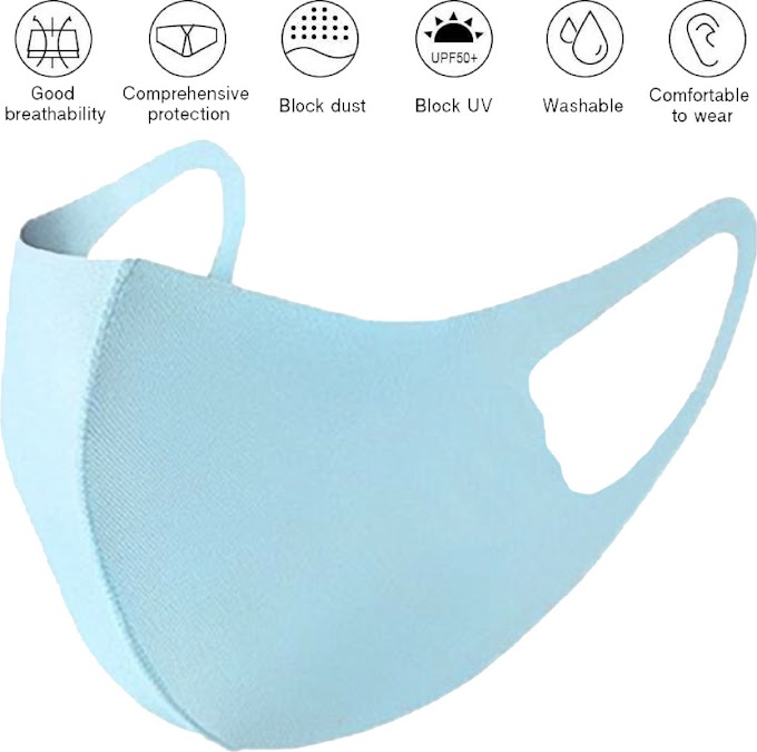 Μάσκα προστασίας ελαστική παιδική χρώμα γαλάζιο - Stretch Washable Reusable Quick dry kids color skyblue