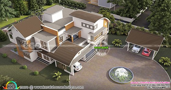 Drone view of mixed roof contemporary house with Separate car porch