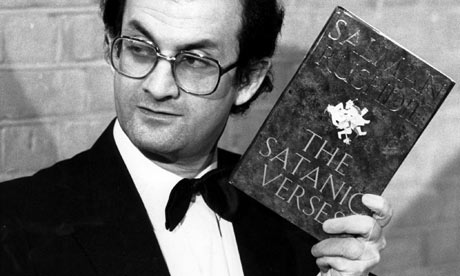 Salman Rushdie with the novel The Satanic Verses