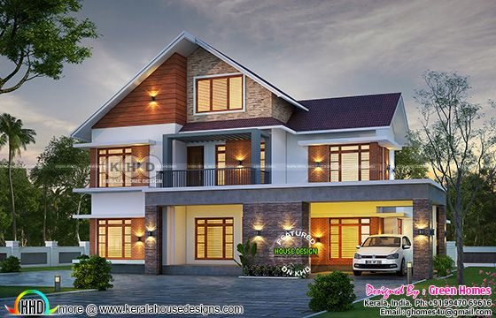 5 BHK beautiful sloping roof house plan