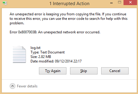 Unexpected network error 0x8007003b Fixed