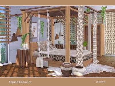 Adjana Bedroom Спальня Аджана Набор мебели для ваших спален. Включает в себя 11 объектов, имеет 2 цветовые палитры. Предметы в наборе: - кровать, - постельные подушки, - шторы, - два вида тентов, - декоративные качели, - корзины, - картина, - жалюзи, - шторы, - подвесной декор. Автор: soloriya