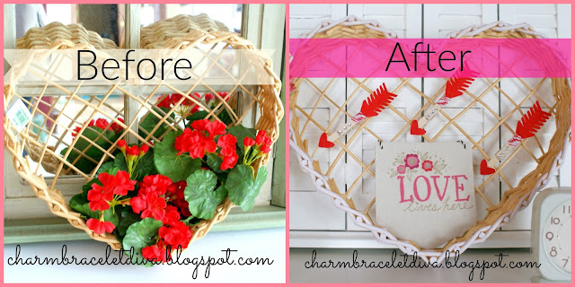 Before and After Vintage inspired Valentine's Day vignette with banner and roses