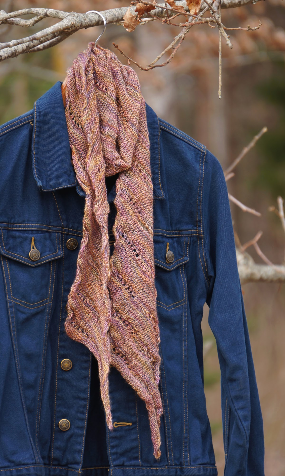 Knitted silk scarf