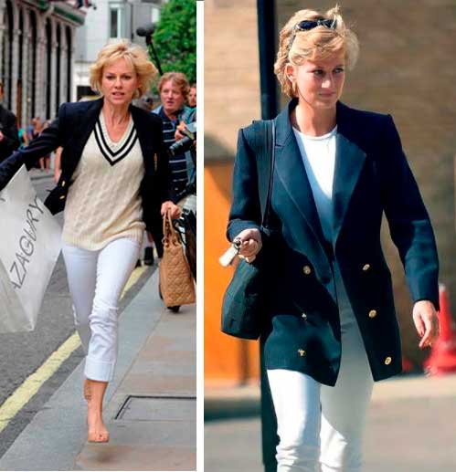 Princesa Diana blazer no filme e foto real