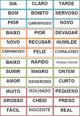 Cartelas do Bingo dos Antônimos 3