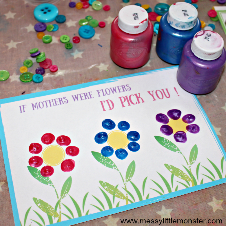 Mother's day card craft for kids with free printable 'If mothers were flower' template. A cute fingerprint keepsake for mom. Easy enough for toddlers and preschoolers.