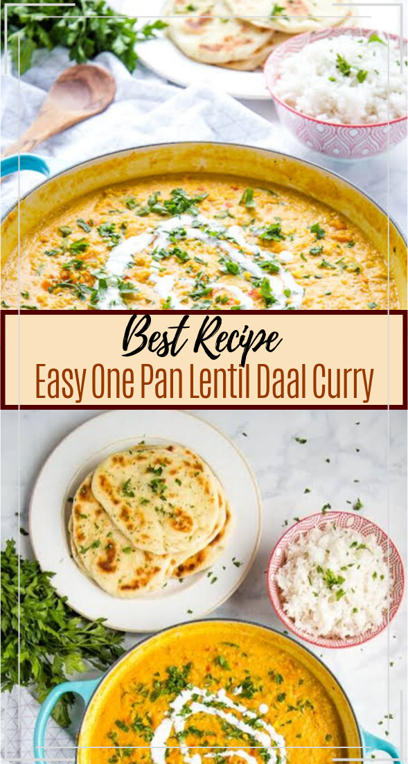 Easy One Pan Lentil Daal Curry #vegan #vegetarian #soup #breakfast #lunch