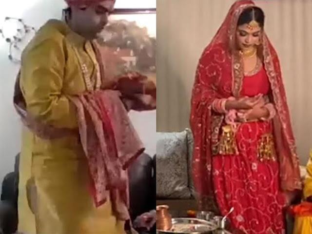 Đám cưới xa hoa ở Ấn Độ được thực hiện trực tuyến cách xa nhau 1000km