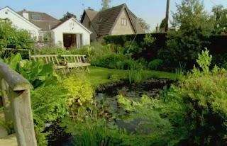 Benches around a pond