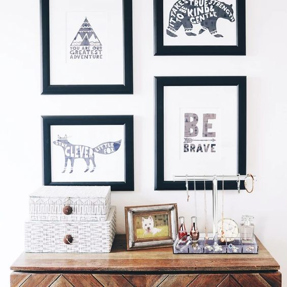 Dresser table toppers and motivational framed artworks.