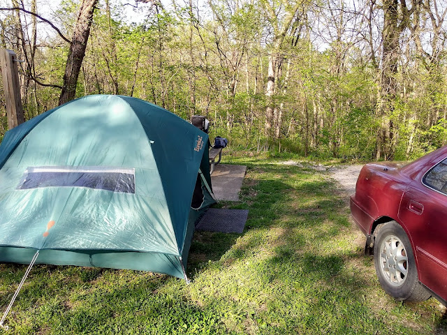 My tent at Arrow Rock State Park, Missouri. May 2018.