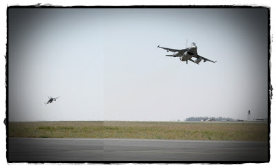 F-16's taking off