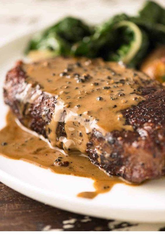 Steak with Creamy Peppercorn Sauce