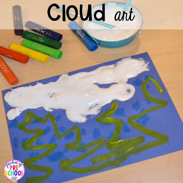 Spring themed puffy paint cloud art plus Plant Needs and Life Cycle Posters FREEBIE. Prefect for preschool, pre-k, and kindergarten.
