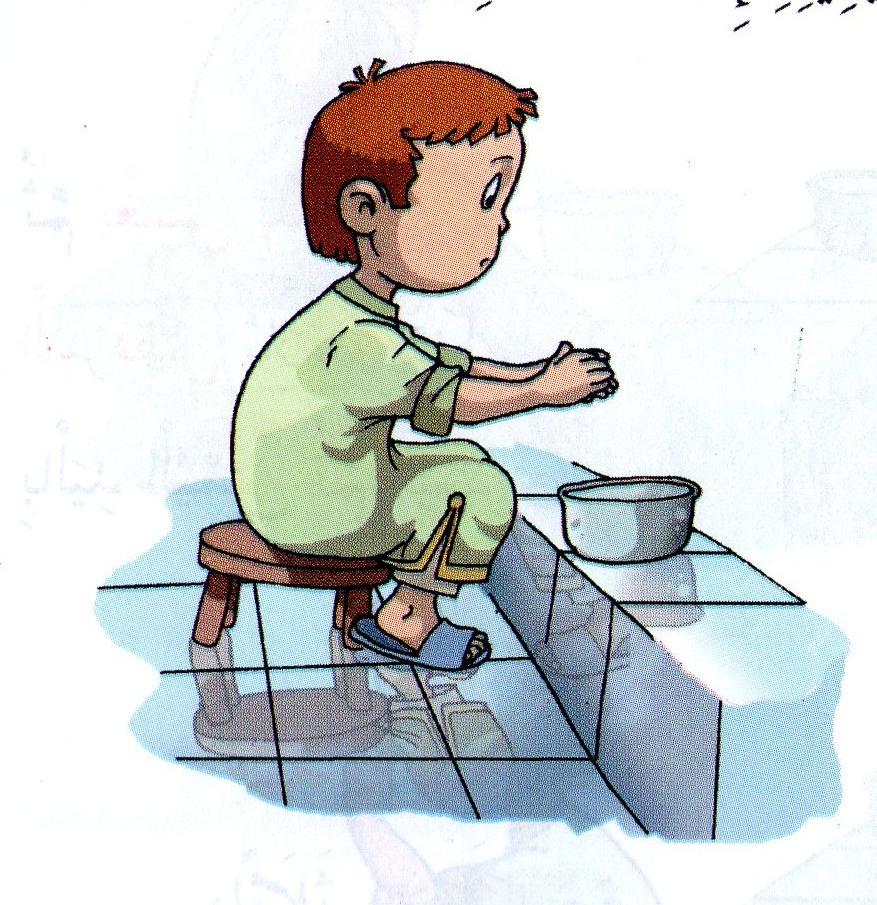 طفل يتوضأ