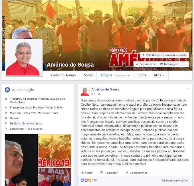Américo de Sousa denuncia manobra para inviabilizar administração em Coelho Neto