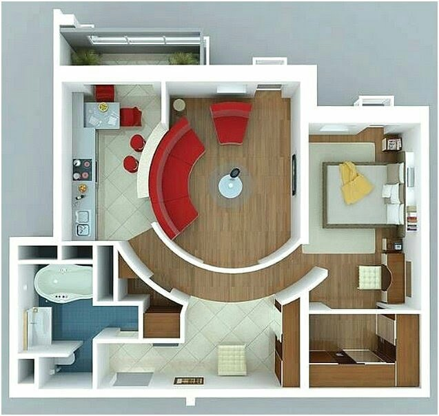 Small House Plans With Latest 3D 1 bedroom photos
