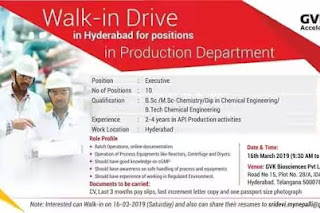 Walk in interview@ GVK bio for multiple positions on 16/03/2019