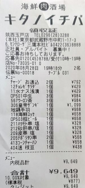 キタノイチバ 筑西玉戸店 2020/8/28 飲食のレシート