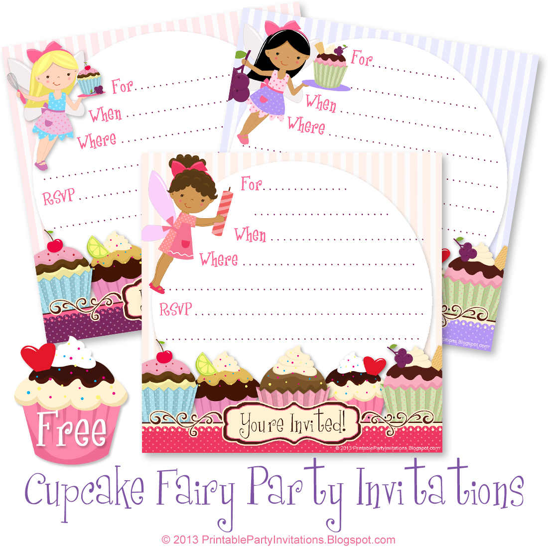 These Free Printable Cupcake Fairy Party Invite Templates Can Be Used For Birthdays Tea Parties Hen Sleepovers Holiday Dessert Exchanges Or Just
