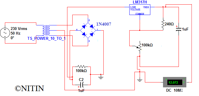 30v 3a Adjustable Regulated Dc Power Supply Circuit Diagram And