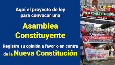 Por convocarse la NUEVA CONSTITUCION mediante ASAMBLEA CONSTITUYENTE lea aqui el pLey