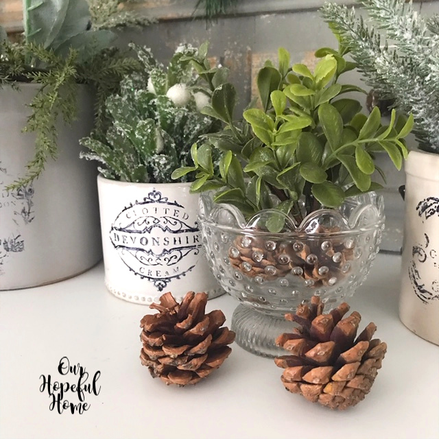clear hobnail bowl pine cones advertising crocks