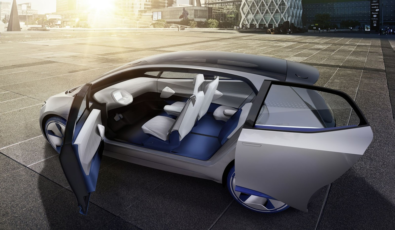 volkswagen i d concept is fully electric and totally autonomous. Black Bedroom Furniture Sets. Home Design Ideas