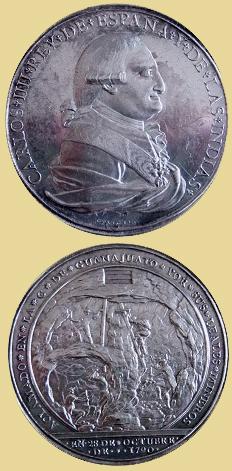 Medalla de los mineros de Guanajuato por la proclamación de Carlos IV, 1790