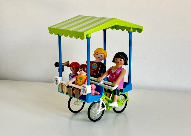 Close up of the PLAYMOBIL family bicycle set