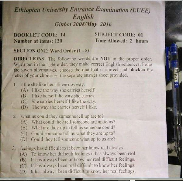 Ethiopian Press: Leaked Ethiopian 12th grade/ University