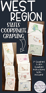 West Region States Coordinate Graphing Mystery Pictures BUNDLE