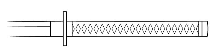 Lipat jalinan gagang katana menggambar besar