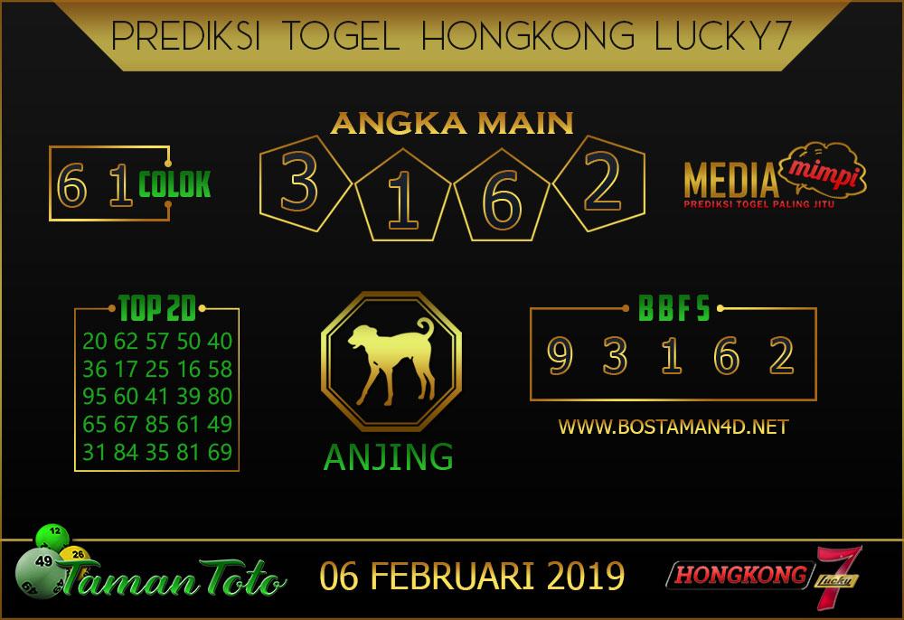 Prediksi Togel HONGKONG LUCKY7 TAMAN TOTO 06 FEBRUARI 2019