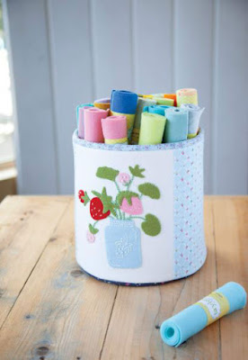 strawberry wool appliques on a canister