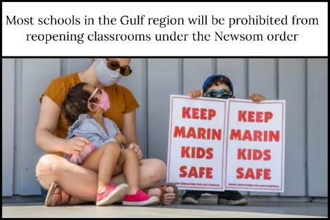 Most schools in the Gulf region will be prohibited from reopening classrooms under the Newsom order