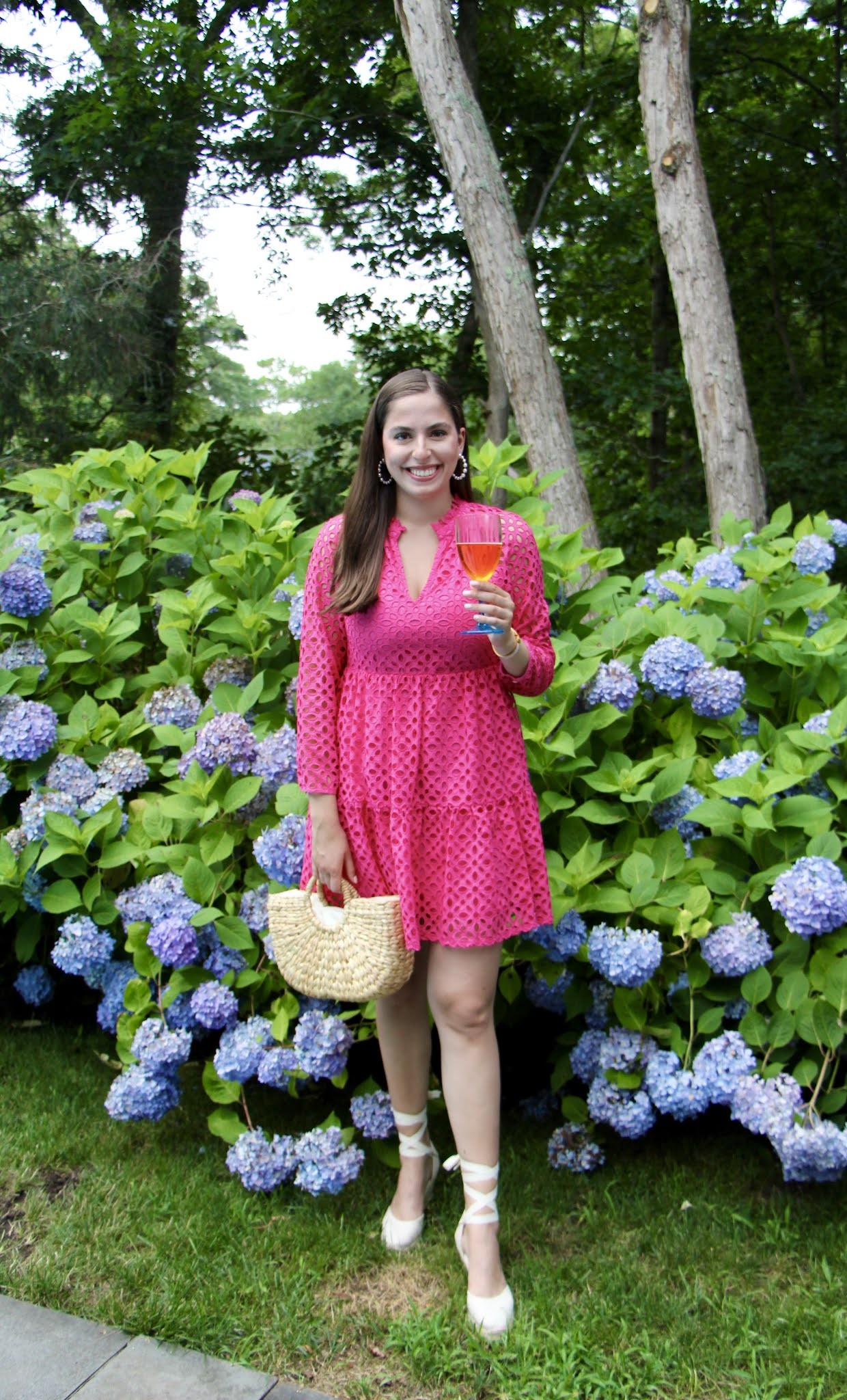 straw tote, hydrangeas, east hampton, soludos, wedges, pink dress, long island, summer