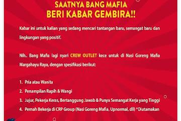 Lowongan Kerja Bandung Crew Outlet Nasi Goreng Rempah Mafia