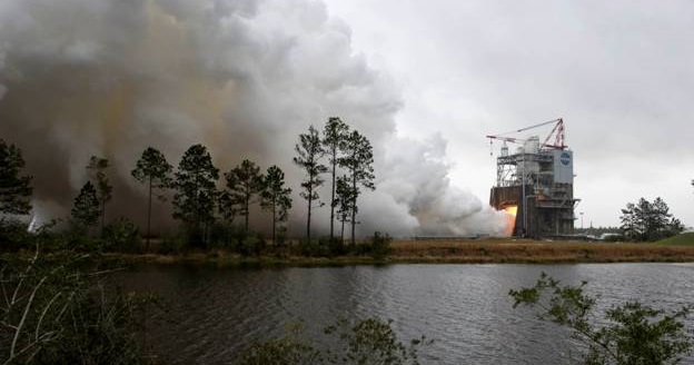 RS-25 Engine Test at NASA's Stennis Space Center. Photo Credit: NASA