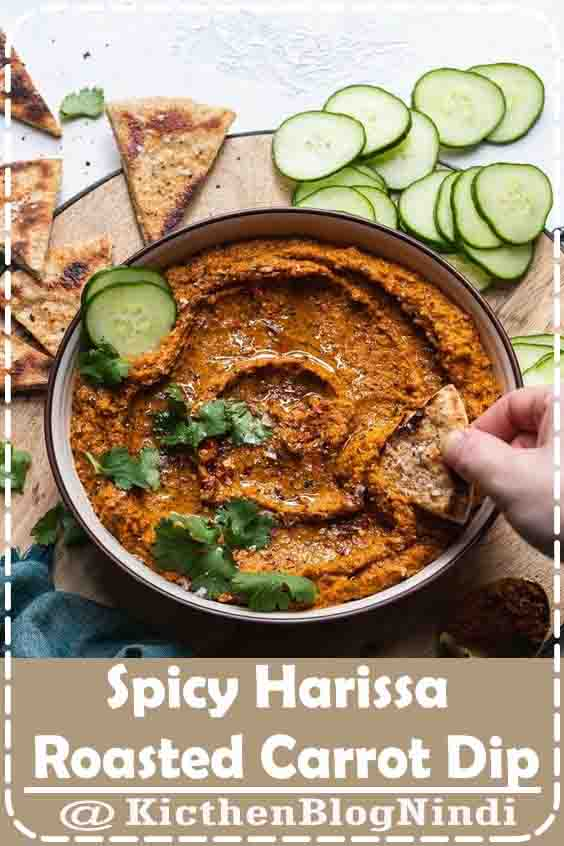 Spicy Harissa Roasted Carrot Dip