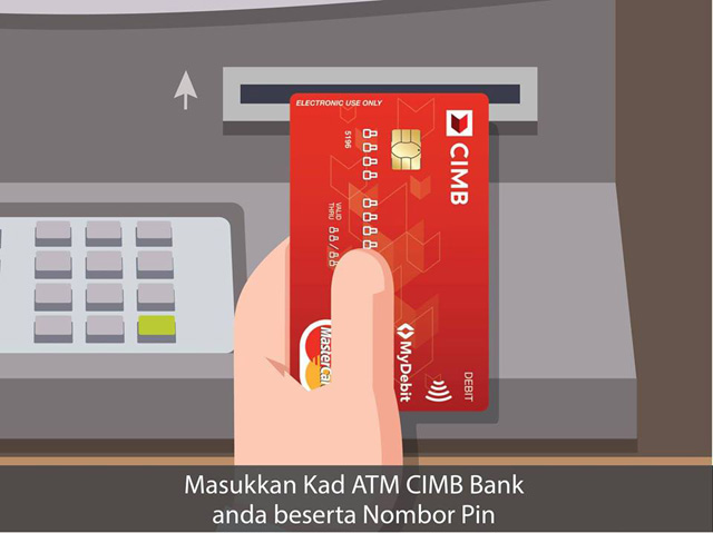 LANGKAH 1 : Masukkan Kad ATM CIMB