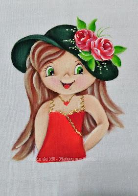 pintura boneca com chapéu verde e rosas vermelhas