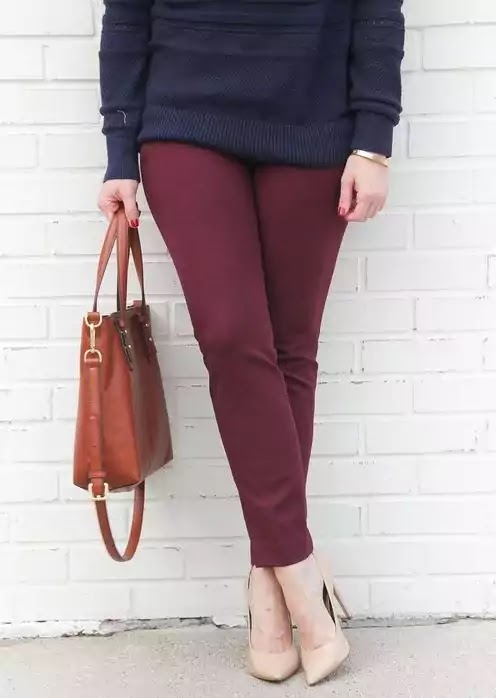 burgundy and navy blue outfit ideas for women