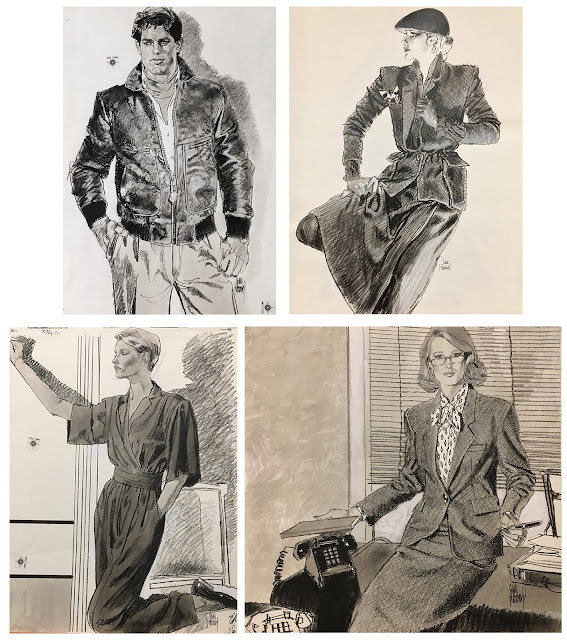 Jim Howard's original fashion illustrations for sale