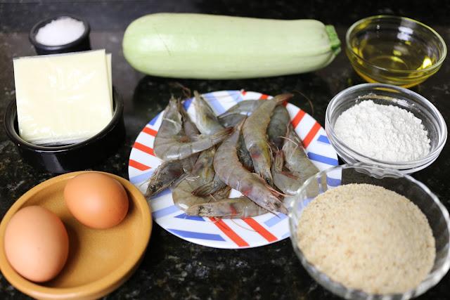 Ingredientes para rollitos de calabacín