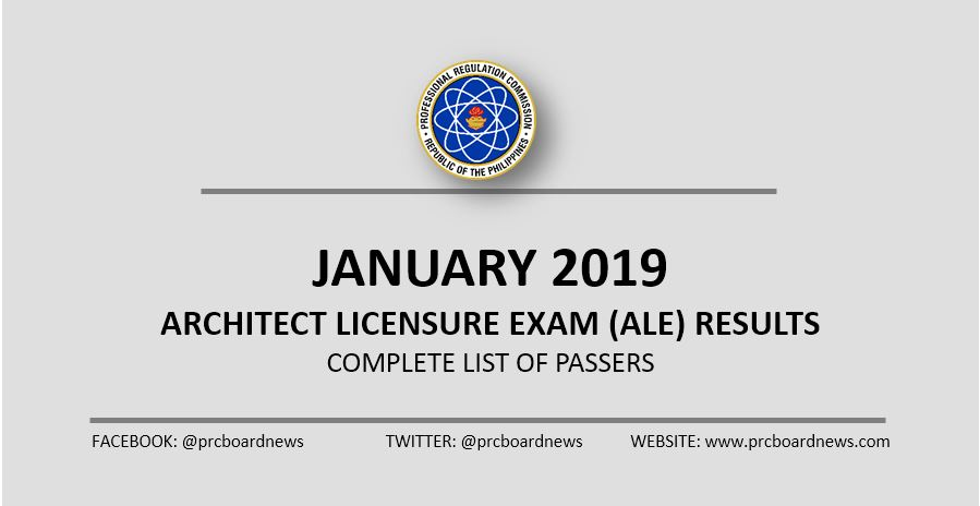 LIST OF PASSERS: January 2019 Architect board exam ALE result
