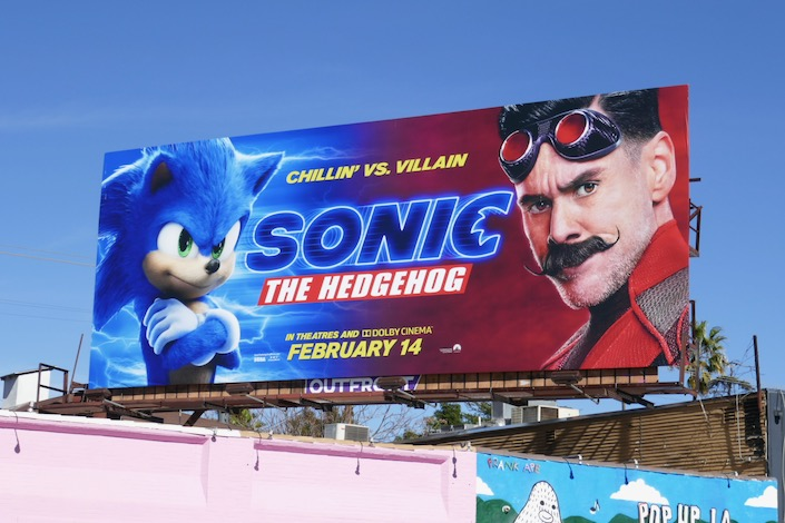 Sonic Hedgehog movie billboard