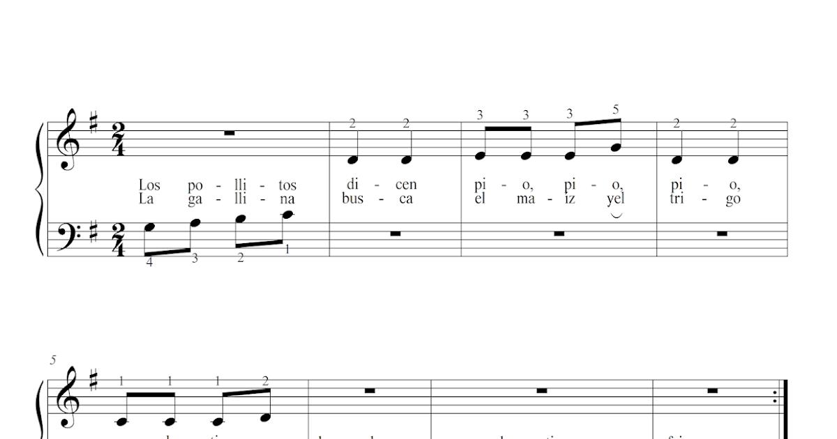 Cemcruz Los Pollitos Dicen Partitura Para Piano